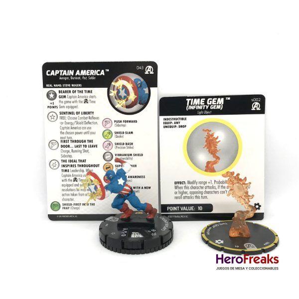 Heroclix Avengers Black Panther Illuminati – 043 Captain America + S002 Time Gem