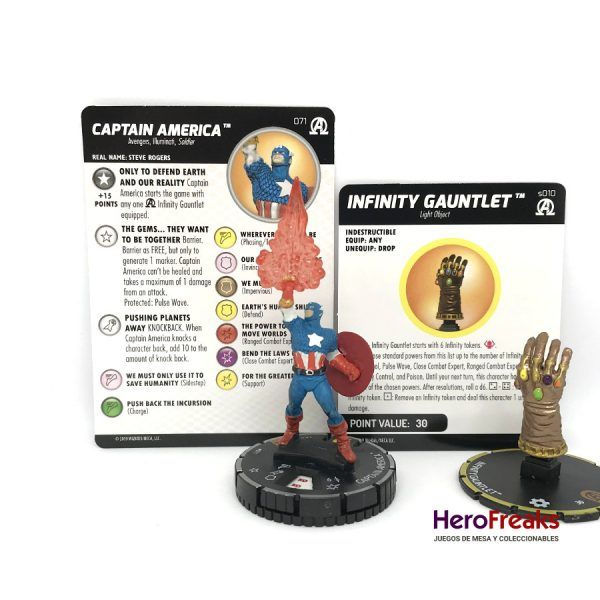 Heroclix Avengers Black Panther Illuminati – 071 Captain America + S010 Infinity Gauntlet